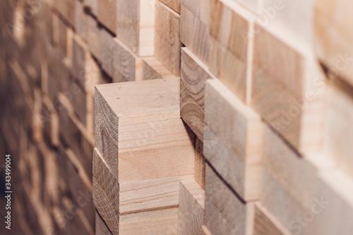 Fotografía Blocks of wood neatly arranged on a pile