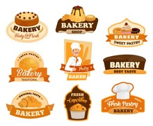 Bakery Shop Vector Icons, Pastry Desserts And Patisserie Cakes Store Signs. Baker With Baked Bread Bagel, Croissant And Baguette Bread, Sweet Puddings And Chocolate Cupcakes, Donut And Muffin