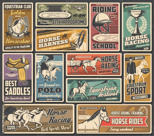 Photo Horse races, jockey polo and equestrian sport championship cup, vector vintage posters