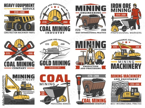Mining industry, coal mine machinery and miner equipment, vector icons Wallpaper Mural