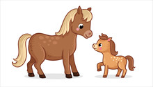 Cute Horse With Foal On A Whit...