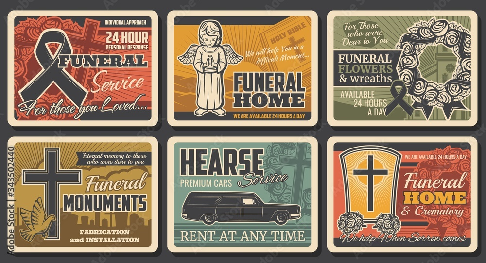 Fototapeta Funeral service, hearse catafalque car rental and tomb monuments fabrication, vector vintage posters. Funeral flowers wreath, RIP ribbons and cremation columbarium urns shop