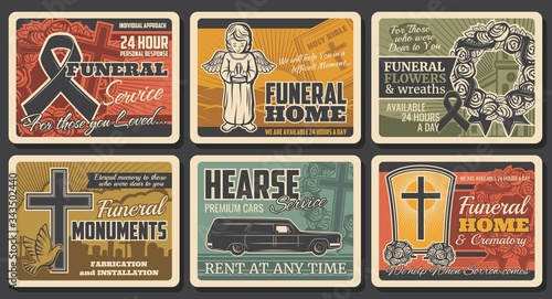 Funeral service, hearse catafalque car rental and tomb monuments fabrication, vector vintage posters. Funeral flowers wreath, RIP ribbons and cremation columbarium urns shop