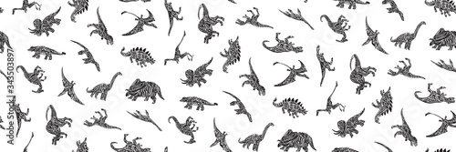 Hand drawn grunge seamless pattern with sketch different dinosaur silhouettes. Black and white dino vector background, fashion print for textile or decorations for kids