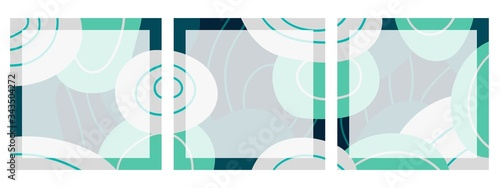 Photo Set of square backgrounds with abstract pattern for social networks with place for text