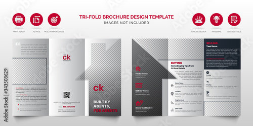 Fényképezés Professional real estate modern red and black multipurpose tri-fold brochure or