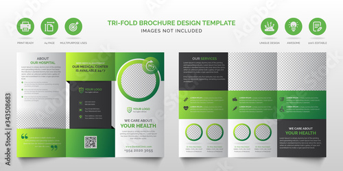 Fotografija Professional corporate modern green and black multipurpose tri-fold brochure or