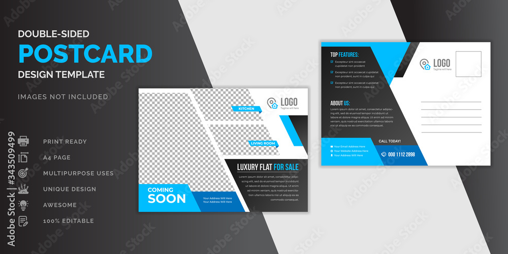 Fototapeta Real estate blue postcard or EDDM postcard design template
