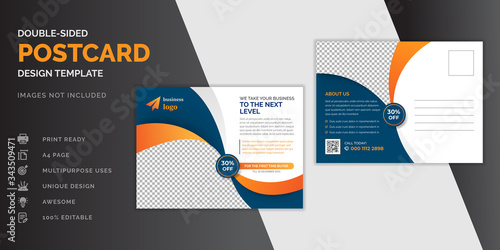 Fototapeta Corporate business dark blue postcard or EDDM postcard design template obraz