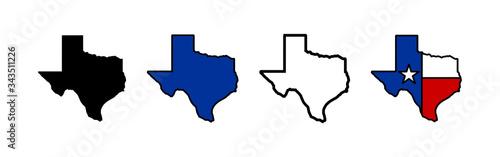 Valokuva Texas map icons set. Texas map icon. Texas symbol.