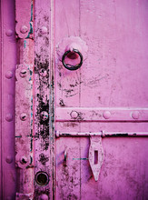 Detail Of An Old Pink Door, Jaipur, India