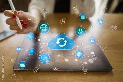 Fototapeta Cloud technology concept on virtual screen