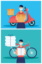 Delivery Workers Using Face Ma...
