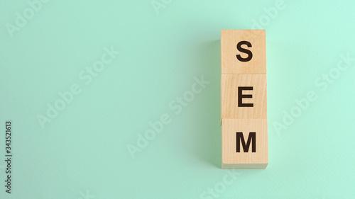 Photo acronym sem on wooden blocks website optimization concept
