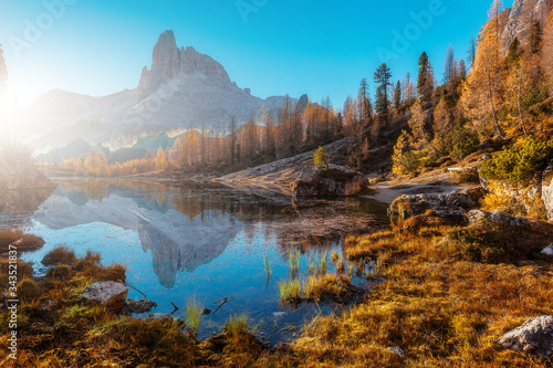 Wall mural - The beautiful nature landscape. Great view on Federa Lake early in the morning. The Federa lake with the Dolomites peak, Cortina D'Ampezzo, South Tyrol, Dolomites, Italy. popular travel locations.