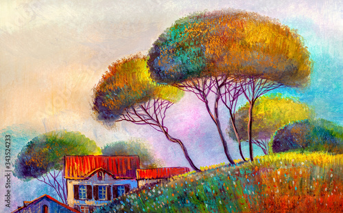 Fototapeta Oil painting, house in the village obraz na płótnie