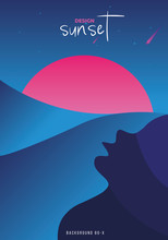 Vector Illustration, Inspired By The Disco Music Of The 80s, 3d Background, Neon, Sunset Abstraction.