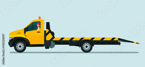 Tow truck with a driver. Vector flat style illustration. Canvas