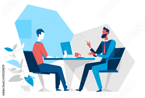 Fototapeta Venditore e cliente in ufficio obraz