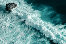Aerial View Of Breaking Ocean ...