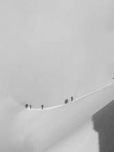 Hikers Climbing Aiguille Du Midi During Winter