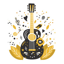 Illustration With Acoustic Guitar And Hand Lettering. Guitar Concert Flyer Template. Flat Hand Drawn Vector Illustration.