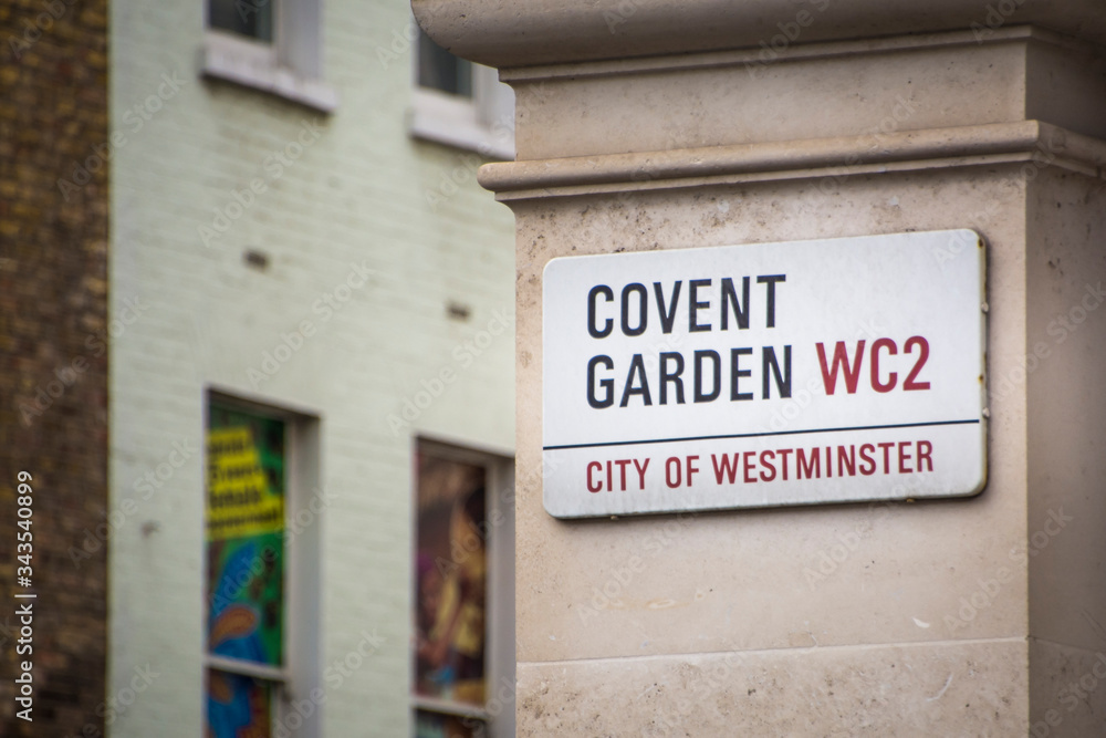 LONDON- Covent Garden street sign, a popular landmark and tourist attraction in London's West End