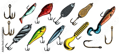 Fotografía Colorful vintage fishing baits collection