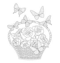 Cute Wicker Basket With Bunch ...
