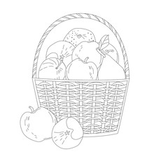 Basket Of Fresh Fruit. Apples, Pear, Tangerine For Your Coloring