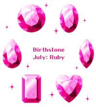 7月の誕生石:ルビーのイラストセット