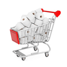 Heap Of Toilet Paper Rolls In Shopping Cart. 3d Rendering