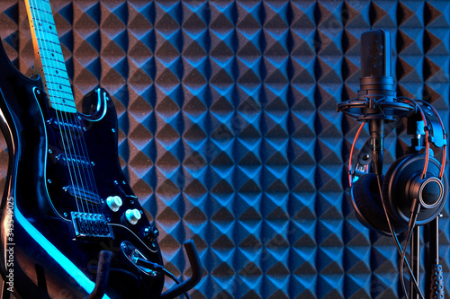 Professional studio condenser microphone with professional headphones and electr Canvas Print