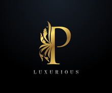 Gold Luxury Letter P Floral Lo...