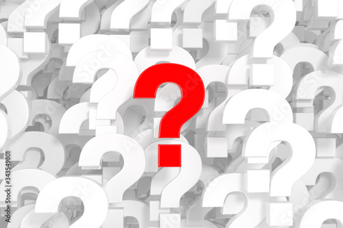 A Lot of White Question Marks as Background with One Red Fototapeta