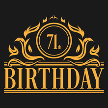 Luxury 71st Birthday Logo Illu...