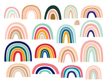 Pastel Stylish Trendy Rainbows Vector Illustrations