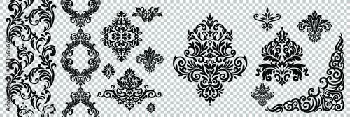 Obraz Damask pattern vector element. Classic luxury old-fashioned ornament grunge background. Royal victorian texture for wallpaper, textile, fabric, wrapping. Exquisite floral baroque patterns. - fototapety do salonu