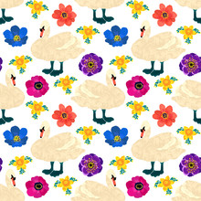 Seamless Pattern With Swans An...