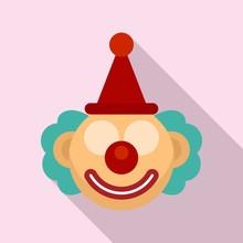 Circus Clown Icon. Flat Illust...