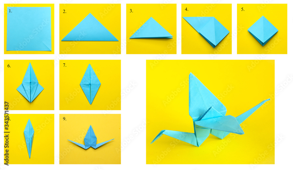 Fototapeta Step-by-step instructions on how to make a crane using the origami technique. DIY concept. Children's creativity.