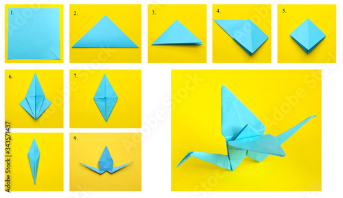 Fotografie, Obraz Step-by-step instructions on how to make a crane using the origami technique
