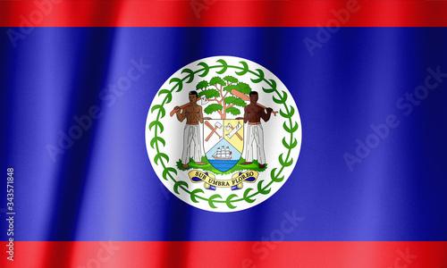 Photo Silk Flag of Belize . Belize Flag of Silk Fabric