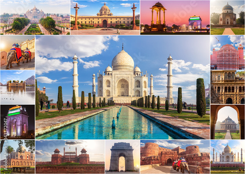 Photo India photo collage, famous sights in one picture