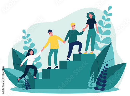 Photo Happy young employees giving support and help each other flat vector illustration