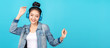 canvas print picture - Young happy attractive asian woman using headphone enjoy listen to song in concept of next normal life, pastime or hobby online. Quarantine activity asian lifestyle listening to music on radio online.