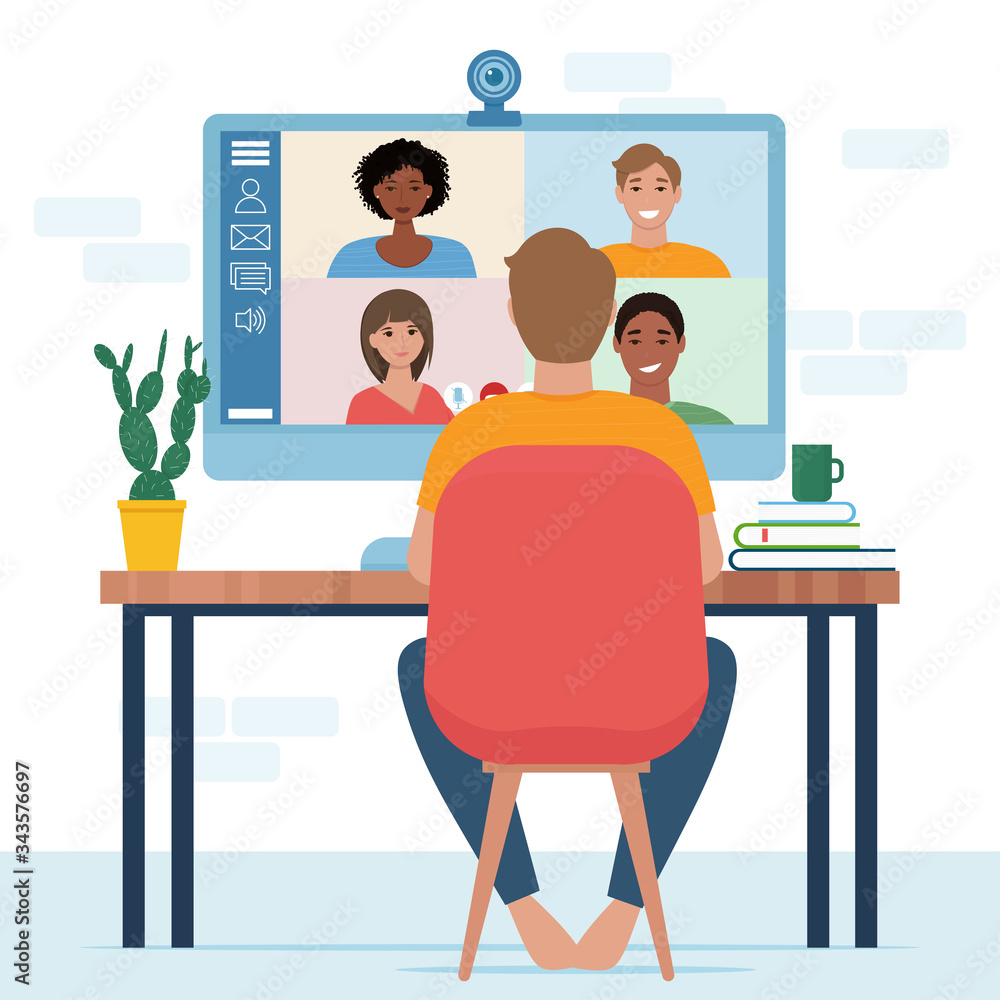 Fototapeta Video conference with people group. Computer screen. Man in video conference with colleagues. Home work concept. Friends talking on video. Vector illustration in flat style