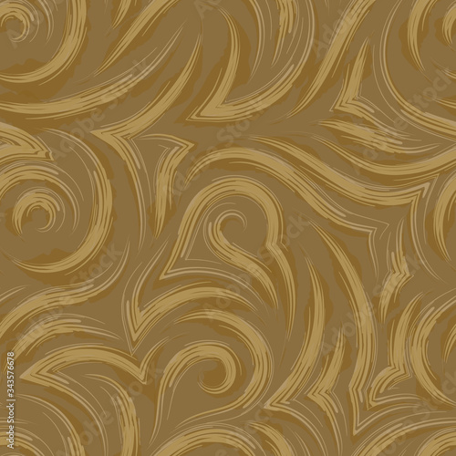 Photo Vector seamless pattern of swampy smooth and angular lines or brush strokes isolated on a pastel brown background