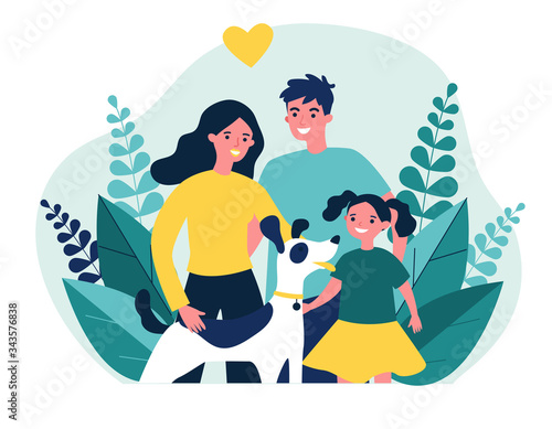 Photo Parents presenting pet to their child flat vector abstract illustration