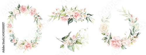 Vászonkép Watercolor floral wreath / frame / bouquet set with green leaves, pink peach blush flowers and branches, for wedding stationary, wallpapers, fashion